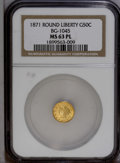California Fractional Gold: , 1871 50C Liberty Round 50 Cents, BG-1045, R.5, MS63 Prooflike NGC.NGC Census: (0/1). PCGS Population (12/4). (#10874)...