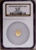California Fractional Gold: , 1870 25C Liberty Round 25 Cents, BG-808, R.3, MS65 NGC. NGC Census:(6/4). PCGS Population (43/10). (#10669)...