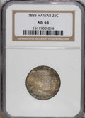 Coins of Hawaii: , 1883 25C Hawaii Quarter MS65 NGC. NGC Census: (98/53). PCGS Population (115/78). Mintage: 500,000. (#10987)...
