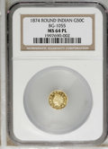 California Fractional Gold: , 1874 50C Indian Round 50 Cents, BG-1055, High R.4, MS64 ProoflikeNGC. NGC Census: (3/0). PCGS Population (6/1). (#10884)...