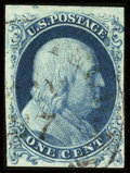 Stamps, #6, 1857, 1c Blue, VF-XF 85 PF. (Used)....