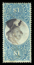 Stamps, #R118a, 1871, $1 Blue & Black with Inverted Center. (Used)....