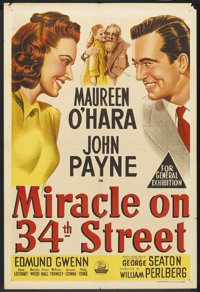 "Miracle on 34th Street (20th Century Fox, 1947). Australian One Sheet (27"" X 40""). Comedy"