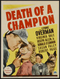 "Movie Posters:Comedy, Death of a Champion (Paramount, 1939). Midget Window Card (8"" X10.25""). Comedy...."
