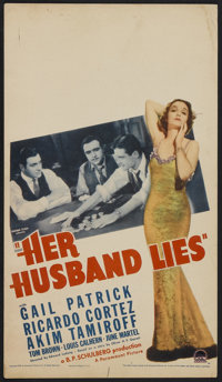 "Her Husband Lies (Paramount, 1937). Midget Window Card (8"" X 14""). Drama"