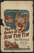 "Movie Posters:Adventure, The Return of Rin Tin Tin (PRC Pictures, 1947). Window Card (14"" X22""). Adventure...."
