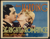 "The Right to Romance (RKO, 1933). Half Sheet (22"" X 28"") Style A. Romance"