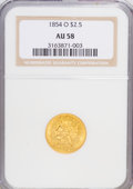 Liberty Quarter Eagles: , 1854-O $2 1/2 AU58 NGC. NGC Census: (148/30). PCGS Population(24/18). Mintage: 153,000. Numismedia Wsl. Price for NGC/PCGS...