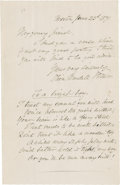 """Autographs:Authors, Oliver Wendell Holmes, Sr. Autograph Poem and Letter Signed """"Oliver Wendell Holmes"""". One page, 4.5"""" x 7"""", June 23, 1871,..."""