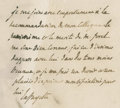 "Autographs:Non-American, Marquis de Lafayette Autograph Endorsement Signed. Two pageholographic document, front and verso, 8.25"" x 12.75"", August 6,..."