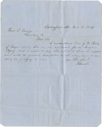 Abraham Lincoln Autograph Letter Signed. One page, one-sided, written on Delarue & Co./London blue-lined paper, 8&qu...