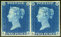 Stanley Gibbons #5 (Scott #2), 1840, 2p Blue. (Original Gum - Hinged)