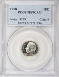 Proof Roosevelt Dimes: , 1958 10C PR67 Cameo PCGS. PCGS Population (130/72). NGC Census:(76/163). Numismedia Wsl. Price for NGC/PCGS coin in PR67:...