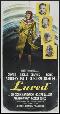 "Lured (United Artists, 1947). Three Sheet (41"" X 81""). Mystery"