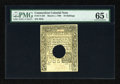 Colonial Notes:Connecticut, Connecticut March 1, 1780 10s Hole Cancel PMG Gem Uncirculated 65EPQ....