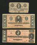 Confederate Notes:1864 Issues, Three 1864 Rebel Notes.. ... (Total: 3 notes)
