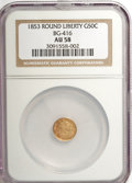California Fractional Gold: , 1853 50C Liberty Round 50 Cents, BG-416, Low R.7, AU58 NGC. NGCCensus: (1/2). PCGS Population (4/6). (#10452)...