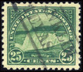 Stamps, #568, 1922, 25c Yellow Green, SUP 98J PSE. (Used)....