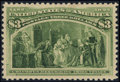 Stamps, #243, 1893, $3 Yellow Green, SUP 98 PSE. (Original Gum - Previously Hinged)....
