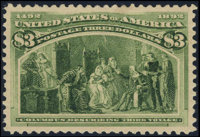 #243, 1893, $3 Yellow Green, SUP 98 PSE. (Original Gum - Previously Hinged)