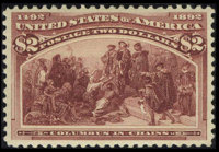 #242, 1893, $2 Brown Red, XF 90 PSE. (Original Gum - Never Hinged)