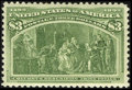 Stamps, #243, 1893, $3 Yellow Green XF 90 PSE. (Original Gum - Never Hinged).... (Total: 1 Slab)