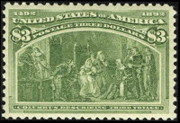 #243, 1893, $3 Yellow Green XF 90 PSE. (Original Gum - Never Hinged)