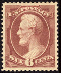 Stamps, #208a, 1882, 6c Deep Brown Red, XF-S 95 PSE. (Original Gum - Previously Hinged)....