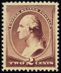 Stamps, #210, 1883, 2c Red Brown, XF-S 95 PSE. (Original Gum - Never Hinged)....