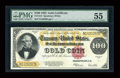 Large Size:Gold Certificates, Fr. 1215 $100 1922 Gold Certificate PMG About Uncirculated 55....