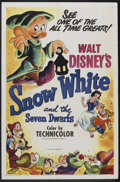 "Movie Posters:Animated, Snow White and the Seven Dwarfs (RKO, R-1951). One Sheet (27"" X41""). Animated...."