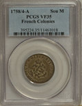 Colonials, 1758/4-A SOU M French Colonies Sou Marque VF35 PCGS....