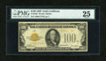 Small Size:Gold Certificates, Fr. 2405 $100 1928 Gold Certificate. PMG Very Fine 25 EPQ.. ...