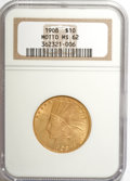 Indian Eagles: , 1908 $10 Motto MS62 NGC. NGC Census: (818/558). PCGS Population(763/646). Mintage: 341,300. Numismedia Wsl. Price for NGC/...
