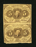 Fractional Currency:First Issue, Fr. 1230 5¢ First Issue Vertical Pair Fine....