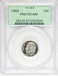 Proof Roosevelt Dimes: , 1963 10C PR67 Deep Cameo PCGS. PCGS Population (244/563). NGCCensus: (5/4). Numismedia Wsl. Price for NGC/PCGS coin in PR...