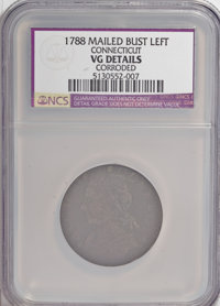 1788 COPPER Connecticut Copper, Mailed Bust Left--Corroded--NCS. VG Details. NGC Census: (0/0). PCGS Population (2/39)...