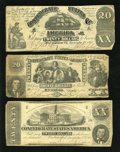 Confederate Notes:1861 Issues, Three Different $20 Confederate Notes.. ... (Total: 3 notes)