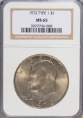 Eisenhower Dollars, 1972 $1 Type One MS65 NGC. NGC Census: (835/22). PCGS Population (361/15). Mintage: 75,890,000. Numismedia Wsl. Price for N...