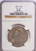 Bust Half Dollars: , 1831 50C VF20 NGC. O-116. NGC Census: (4/1233). PCGS Population(4/1190). Mintage: 5,873,660. Numismedia Wsl. Price for NG...