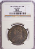 Bust Half Dollars: , 1818/7 50C Large 8 VF30 NGC. O-101A. NGC Census: (0/0). PCGSPopulation (5/72). (#6115)...