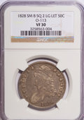 Bust Half Dollars: , 1828 50C Square Base 2, Small 8, Large Letters VF30 NGC. O-113.PCGS Population (10/269). (#6151)...