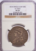 Bust Half Dollars, 1814 50C Single Leaf VF25 NGC. O-105A. NGC Census: (8/39409). PCGSPopulation (9/358). Mintage: 1,039,075. Numismedia Wsl....