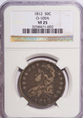 Bust Half Dollars: , 1812 50C VF25 NGC. O-109A. NGC Census: (6/632). PCGS Population(27/610). Mintage: 1,628,059. Numismedia Wsl. Price for NG...