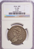 Bust Half Dollars: , 1814 50C F15 NGC. O-106. NGC Census: (4/39421). PCGS Population(2/370). Mintage: 1,039,075. Numismedia Wsl. Price for NGC...