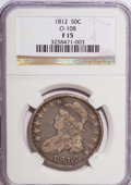 Bust Half Dollars: , 1812 50C F15 NGC. O-108. NGC Census: (9/645). PCGS Population(8/649). Mintage: 1,628,059. Numismedia Wsl. Price for NGC/P...