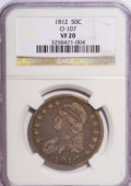 Bust Half Dollars: , 1812 50C VF20 NGC. O-107. NGC Census: (7/638). PCGS Population(12/637). Mintage: 1,628,059. Numismedia Wsl. Price for NGC...