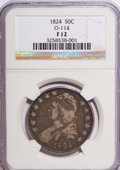 Bust Half Dollars: , 1824 50C F12 NGC. O-114. NGC Census: (2/680). PCGS Population(4/682). Mintage: 3,504,954. Numismedia Wsl. Price for NGC/P...
