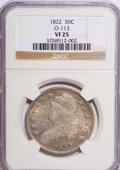 Bust Half Dollars: , 1822 50C VF25 NGC. O-113. NGC Census: (8/464). PCGS Population(9/518). Mintage: 1,559,573. Numismedia Wsl. Price for NGC/...