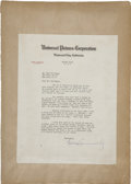 Movie/TV Memorabilia:Autographs and Signed Items, Carl Laemmle Sr. and Carl Laemmle Jr. Signed Letters. ...